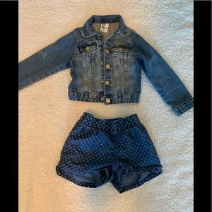 Girls Bundle Jeans Denim Jacket Shorts Blue Size 4